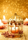 Scented candle in vintage birdcage. Golden background. Copy space Stock Photography