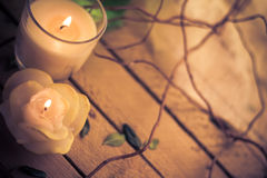 Scented candles attributes rest relaxation Royalty Free Stock Images