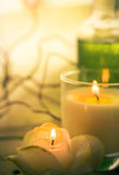 Scented candles attributes rest relaxation Stock Photography