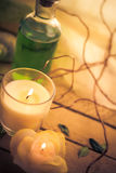 Scented candles attributes rest relaxation Royalty Free Stock Photos