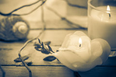 Scented candles attributes rest relaxation Stock Photo