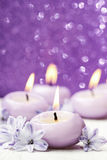 Scented candles and hyacinth flowers on violet background Stock Photos