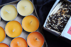 Scented candles and matches Stock Image