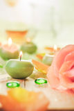 Scented candles salt bath attributes relaxation Stock Photos