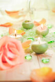 Scented candles salt bath attributes relaxation Royalty Free Stock Photography
