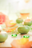 Scented candles salt bath attributes relaxation Stock Images
