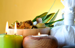 Scented candles and salts Royalty Free Stock Photography