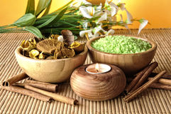 Scented candles and salts Stock Image