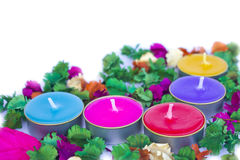 Scented candles, very clorfull Stock Photos