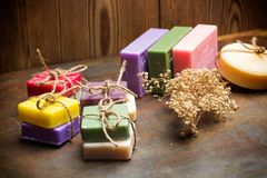 Scented and colorfull soaps. For healthy bath royalty free stock photo