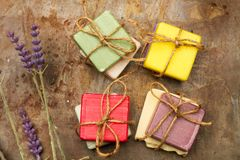 Scented and colorfull soaps. For healthy bath stock image