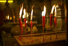 Scented incense sticks in the Buddhist temple of Man Mo in Hong stock photo