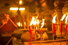 Scented incense sticks in the Buddhist temple of Man Mo in Hong. Kong -3 stock photography