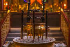 Scented Incense Sticks In The Buddhist Temple Of Man Mo In Hong Stock Photography