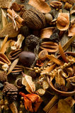 Scented potpourri. On wood background royalty free stock photo