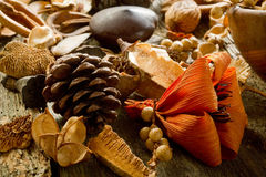 Scented potpourri. On wood background royalty free stock photography