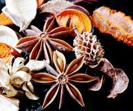 Scented potpourri. On black background royalty free stock photos
