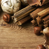 Scented potpourri. On wood background stock images