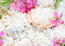 Scented Sea Salt with Flowers Stock Photography