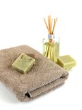 Scented Soaps. Scented olive oil soaps isolated against a white background Royalty Free Stock Photography
