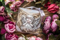 Scented Stone as a Gift for Baby Shower. On wooden background stock images