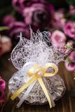 Scented Stone as a Gift for Baby Shower. On wooden background stock image