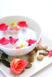 Scented water with pebbles on side. Stock Photos