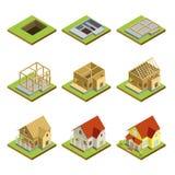 Sceny domowej budowy isometric 3D set royalty ilustracja