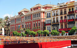 Sceny i stojaki, Święty tydzień w Seville, plac San Fransisco, Andalusia, Hiszpania Zdjęcia Royalty Free