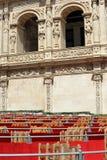 Sceny i stojaki, Święty tydzień w Seville, urząd miasta w placu San Fransisco, Andalusia, Hiszpania Zdjęcia Stock
