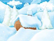 sceny idylliczna zima royalty ilustracja