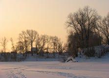 sceny wiejskiej zimy. Zdjęcie Royalty Free