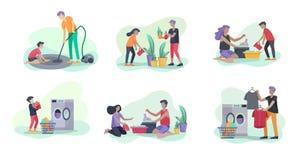 Sceny z rodzin? robi sprz?taniu, dzieciaki pomaga rodzic?w z domowy czy?ci?, myje naczynia, fa?d?w ubrania, czy?ci royalty ilustracja