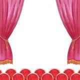 Sceny zasłony akwareli cyrk, teatr, przedstawienie, koncertowa ilustracyjna ręka rysująca ilustracja wektor