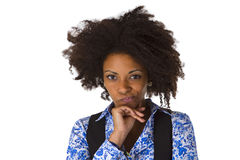 Sceptic afro american woman Royalty Free Stock Image
