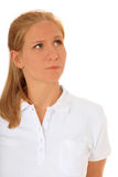 Sceptic woman Royalty Free Stock Image