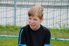 Sceptical looking goalkeeper Royalty Free Stock Photography