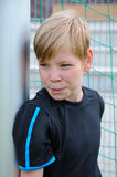 Sceptical looking goalkeeper Royalty Free Stock Photos