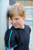Sceptical looking goalkeeper Royalty Free Stock Photo
