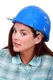 A sceptical tradeswoman Royalty Free Stock Photography