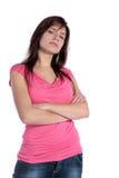 Sceptische jonge vrouw Stock Foto