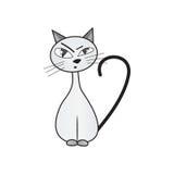 Sceptische kat Handdrawn Geïsoleerdj op witte achtergrond Royalty-vrije Stock Foto
