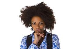 Sceptyczna afro amerykańska kobieta Obraz Royalty Free