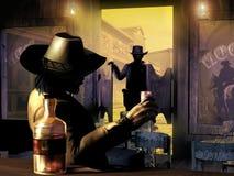 Sceriffo che entra nel salone illustrazione di stock