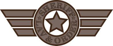 Sceriffo Emblem Stella con testo e le ali fotografia stock