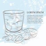 Scetch alcoólico do cocktail de Negroni ilustração stock