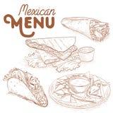 Scetch av mexikansk mat Arkivbilder