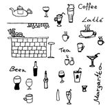 Scetch for cafe. Scetch for restaurant menu design Royalty Free Stock Photography