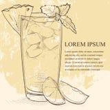 Scetch de Mai Tai do cocktail ilustração stock