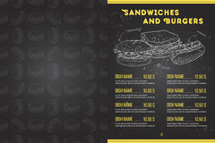 Scetch horisontal菜单设计 免版税库存图片